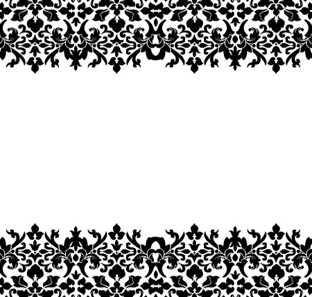 black pattern: Border or frame of black damask Stock Photo