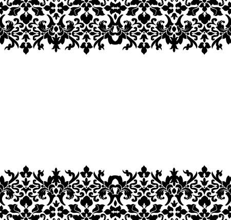 fondo blanco y negro: Frontera o marco del damasco negro