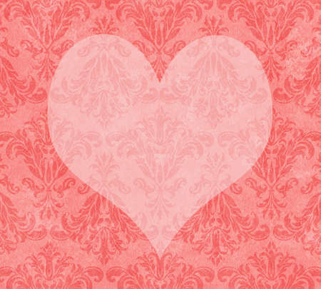 muted: Heart shape on a background of muted damask