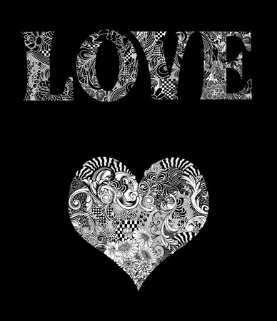 twining: Intricate pen and ink drawing of the word Love with a heart