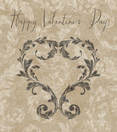 Laurel leaves forming a heart on a taupe textured background