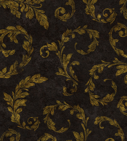 curlicues: Elegant traditional background of gold laurel leaves on textured black