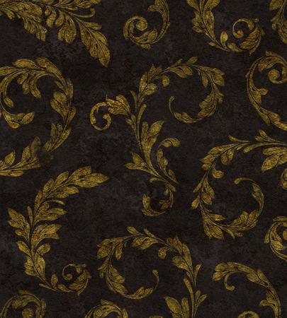 Elegant traditional background of gold laurel leaves on textured black