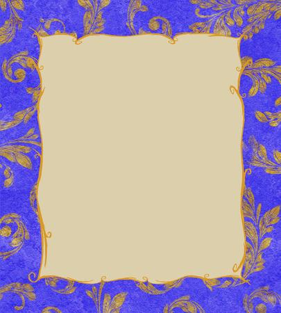 Elegant gold frame on a cobalt blue textured background of gold laurel leaves