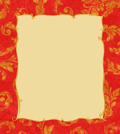 gold textured background: Elegant traditional background of gold laurel leaves on textured red Stock Photo