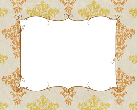 chic: Chic copy space of a gold curlicue frame on a background of white and gold damask