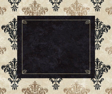 chic: Chic copy space of a black frame on a background of taupe and black damask