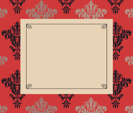 chic: Chic copy space on a background of red and black damask
