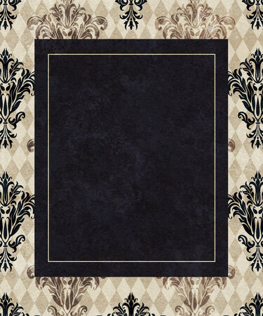 chic: Chic copy space of a black frame on a background of taupe harlequin and damask Stock Photo