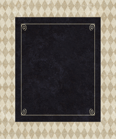 understated: Chic copy space of a black frame on a background of taupe harlequin and damask Stock Photo