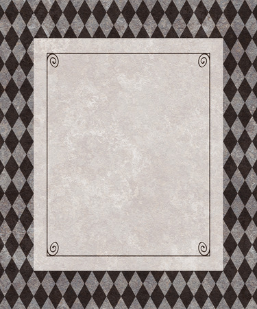 understated: Copy space of a gray frame on a background of charcoal gray harlequin