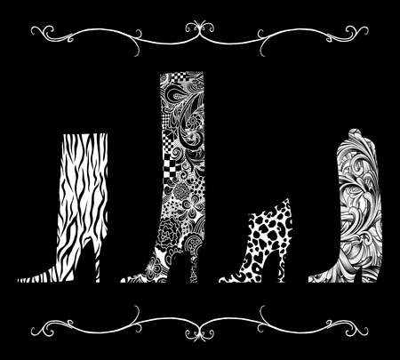 Four chic boots in a row with intricate ink lines and animal prints on black