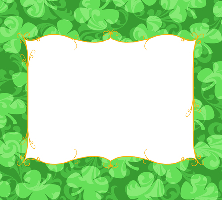 Orange curlicue frame with a border of shamrocks and curlicue shapes