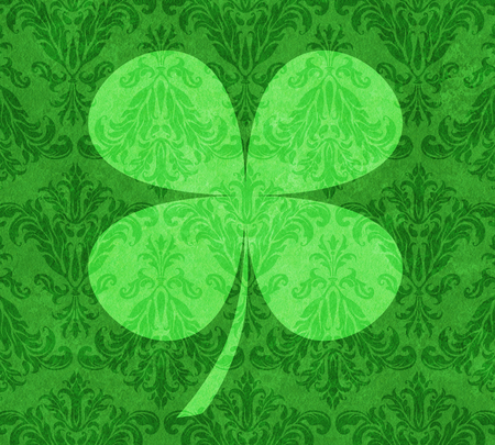 fourleafed: Four-leafed Clover on a background of green damask