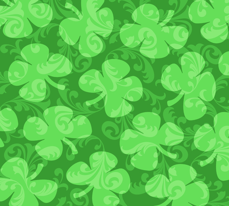 Four-leafed Clovers on a background of green