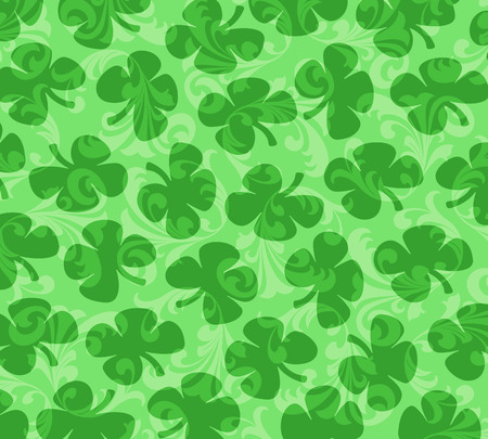 Four-leafed Clovers on a background of green curlicues