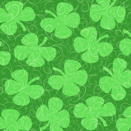 curlicues: Four-leafed Clovers on a background of green curlicues