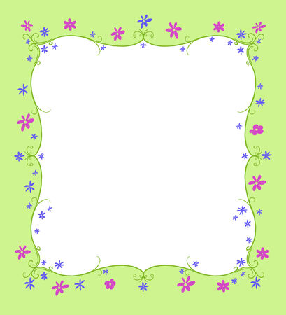 curlicue: Green twining curlicue frame surrounded by blue and purple flowers Stock Photo