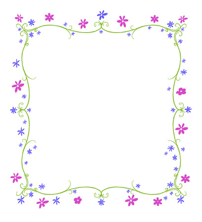 twining: Green twining curlicue frame surrounded by blue and purple flowers Stock Photo