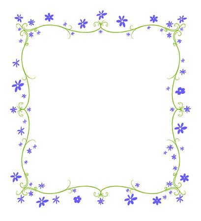 curlicue: Green twining curlicue frame surrounded by blue flowers