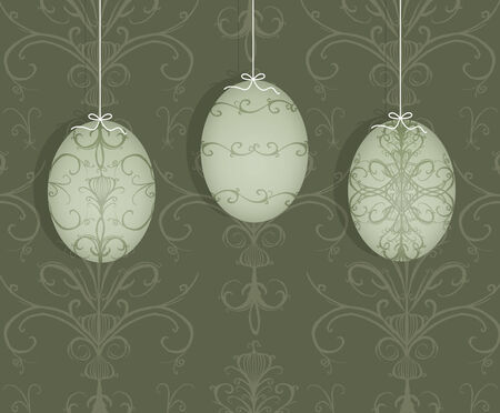 curlicues: Pretty decorated Easter egg suspended on a taupe damask background