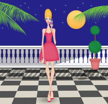 moonlit: Stylish young woman drinking wine on a moonlit terrace with palm trees Stock Photo