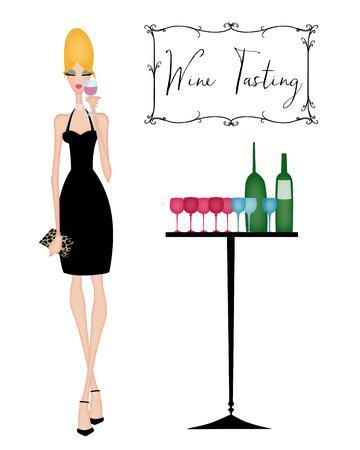 invitando: Vino joven elegante mujer que bebe en una cata de vinos Foto de archivo