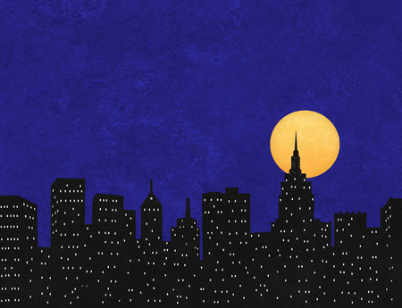 Silhouette of a city skyline with full moon on a textured background