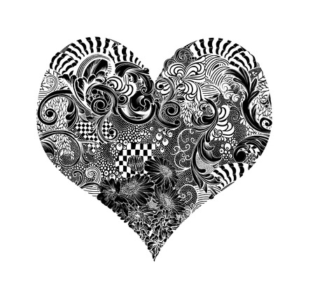 twining: Intricate pen and ink drawing of a heart