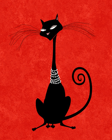 attenuated: Chic stylized black cat in pink pearls