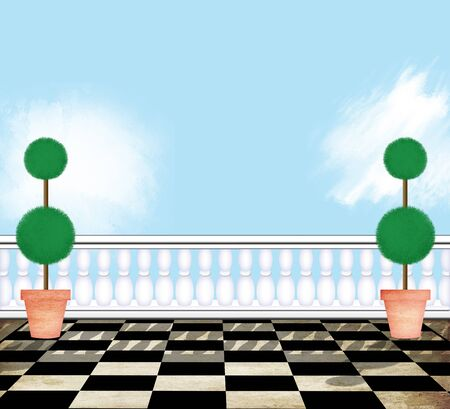 penthouse: View from a formal penthouse terrace with topiaries and a blue sky Stock Photo