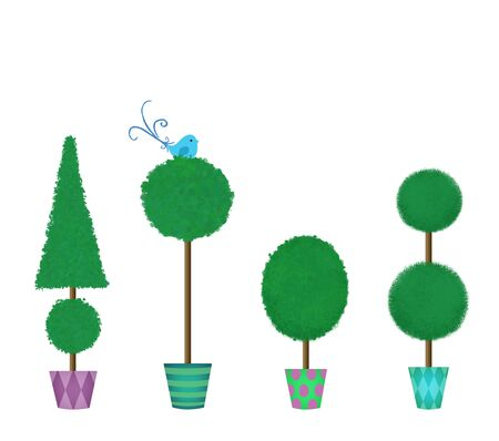 fanciful: Cute topiaries in assorted pots with a fanciful blue bird