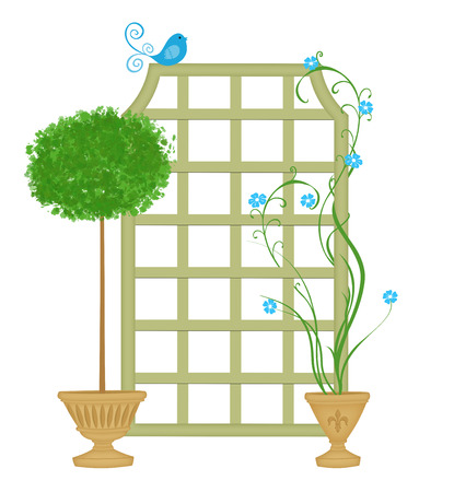 twining: Cute topiary and potted vine with a trellis and blue bird Stock Photo