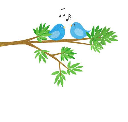Twee leuke kleine blauwe vogels op een boom tak met bladeren op wit wordt geïsoleerd Stockfoto
