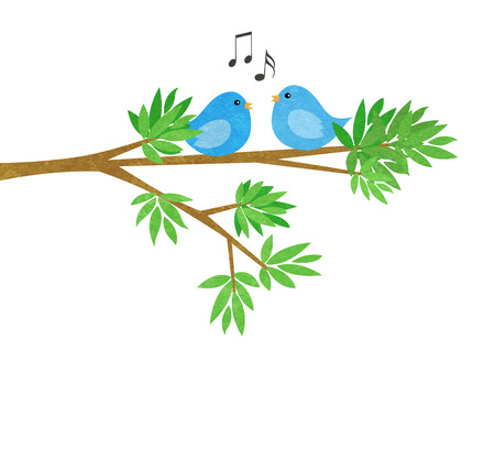 Two cute little blue birds on a tree branch with leaves isolated on white