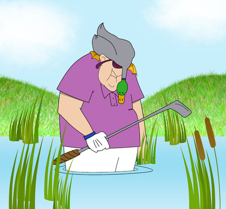 golf cartoon characters: Funny cartoon of a dejected golfer standing in a water hazard with a duck on his head Stock Photo