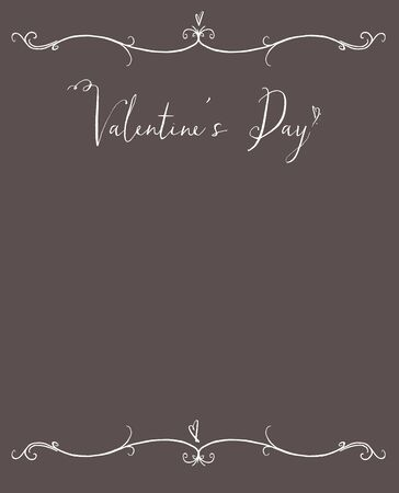 Valentines Day copy space with white hand lettering on a taupe background with tiny hearts Stock Photo