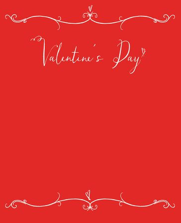 Valentines Day copy space with white hand lettering on a red background with tiny hearts Stock Photo