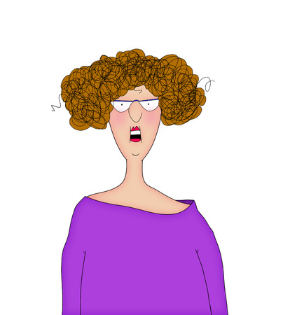 frizzy: Cartoon of a woman with an expression of surprise, realization,  dismay, shock, etc