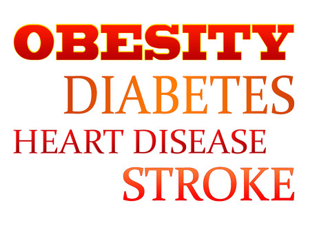 Typography of obesity and ancillary problems such as diabetes, heart disease, and stroke