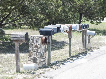 country roads: Row of mailboxes on a country road Stock Photo