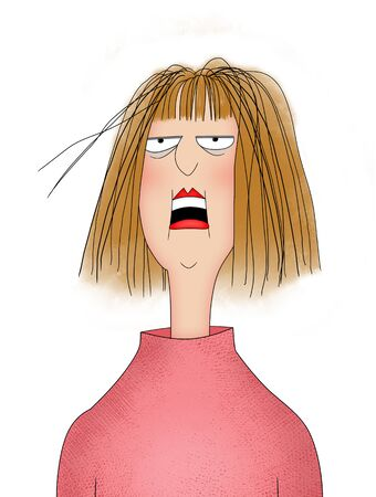 Humor illustration of a woman with messy hair and a stressed or frustrated facial expression, isolated on white