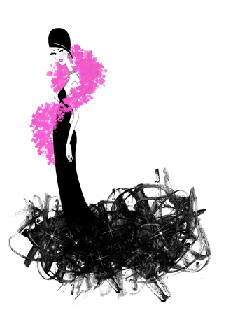 Fashion illustration of a beautiful woman in a black evening gown and Hot Pink Boa