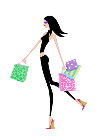 Fashion illustration of a chic girl striding with shopping bags