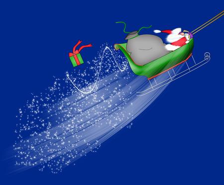 サンタ クロース彼の袋からの落下のギフトと上向きのそりを飛んでの漫画