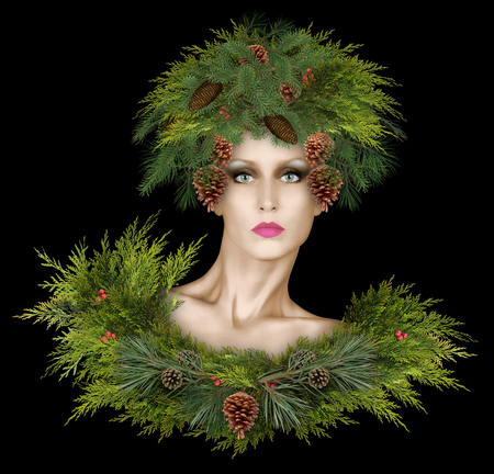 Fashion model wearing pine boughs and pine cones with winter berries
