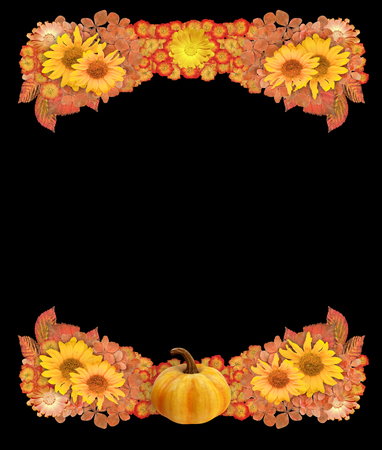 Pretty border of autumn leaves and dried flowers in fall colors on a black background