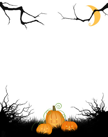Whimsical Halloween scene with moon, pumpkins, and twisted trees isolated on white Stok Fotoğraf