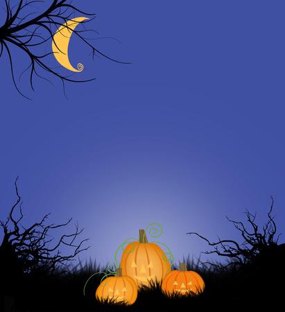 Cute Halloween Night Scene With Jack-O-Lanterns and Moon