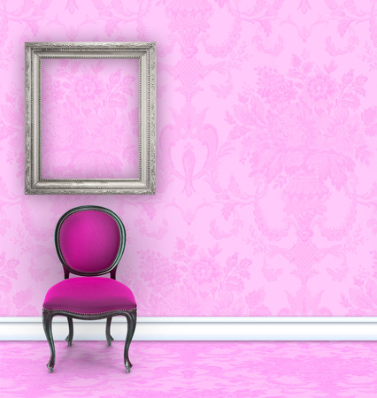 boudoir: Pink room with damask wallpaper, a velvet chair, and an empty silver picture frame with copy space
